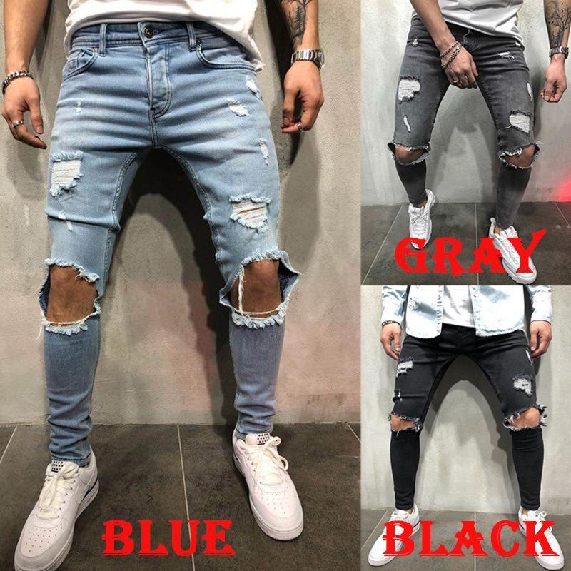 228ded1f 2019 Moda Streetwear Jeans para hombre Vintage Azul Gris Color Skinny  Destroyed Jeans rotos Pantalones punk rotos Homme Hip Hop Jeans Top Qua