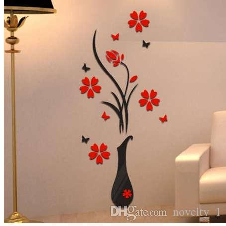 wall papers home decor diy vase flower tree crystal arcylic 3d wall