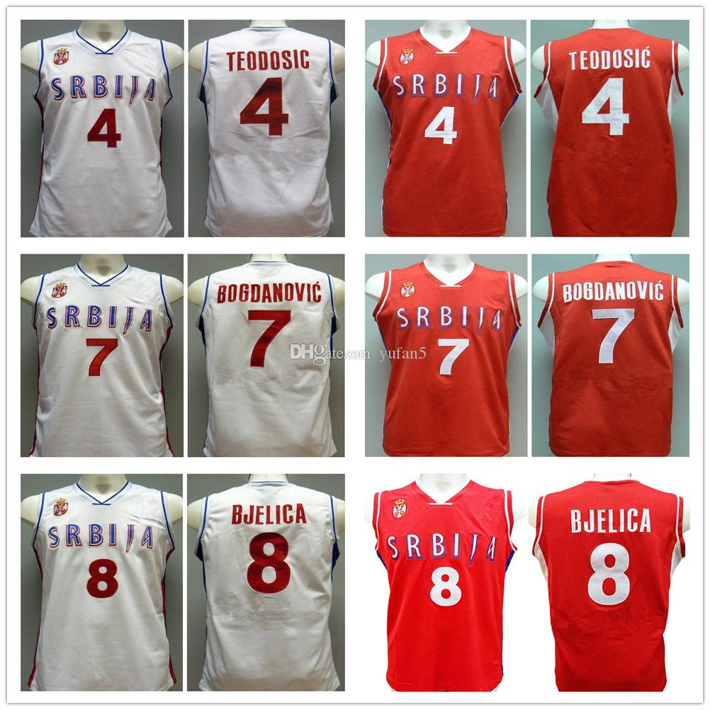 online store 07826 4b8da Milos Teodosic #4 Bogdan Bogdanovic #7 Nemanja Bjelica #8 Team Serbia  Srbija Serbio Retro Basketball Jerseys Mens Stitched Custom Any Name