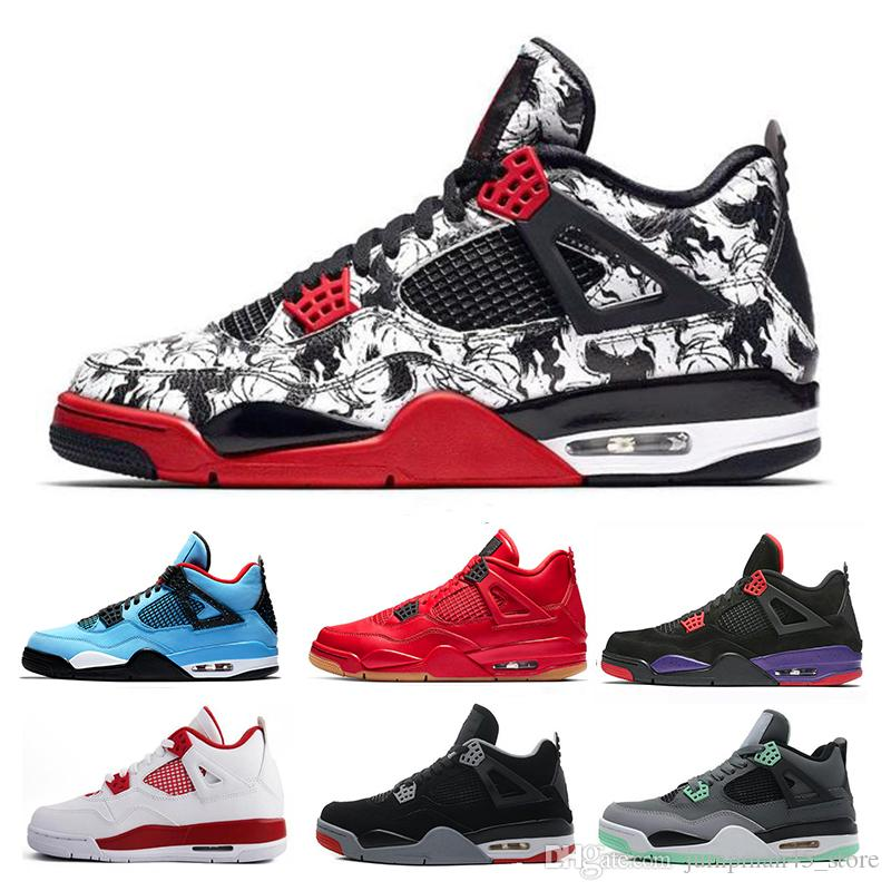b8482d759c432e 2019 Tattoo 4 4s Mens Basketball Shoes Raptors Singles Day Travis Scott X 4s  HOUSTON Cactus Jack Mens Sports Trainers Sneakers US 7 13 From  Jumpman45 store