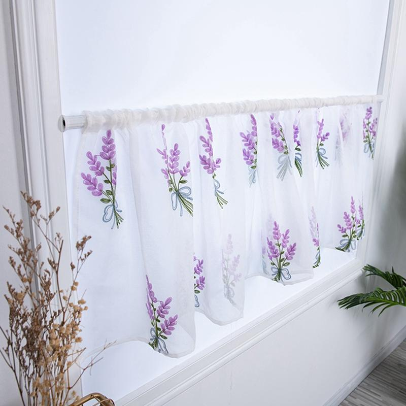 New Embroidered Bouquet Semi Tier CurtainRod Pocket Home Decor, Short Curtain For Kitchen Bathroom Living Room
