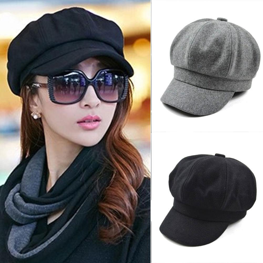 d7389a5bf91 Woolen Windproof Cap Women Autumn Winter French Beret Hat Women ...