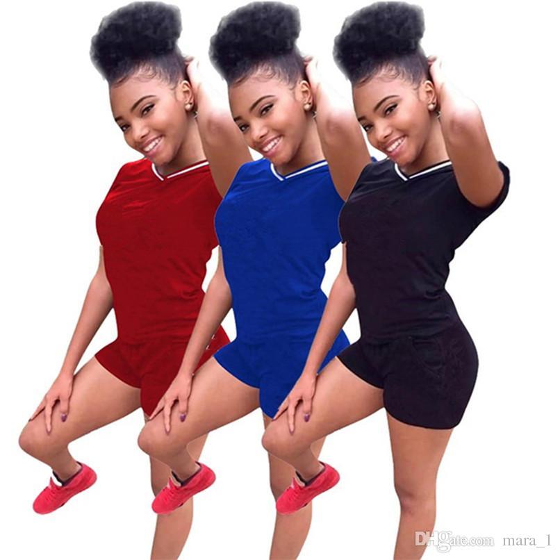 d4bbeb0fa06a Diseñador de la marca mujeres pantalones cortos traje chándal camiseta  pantalones conjunto de 2 piezas trajes ropa de verano de verano más tamaño  ...