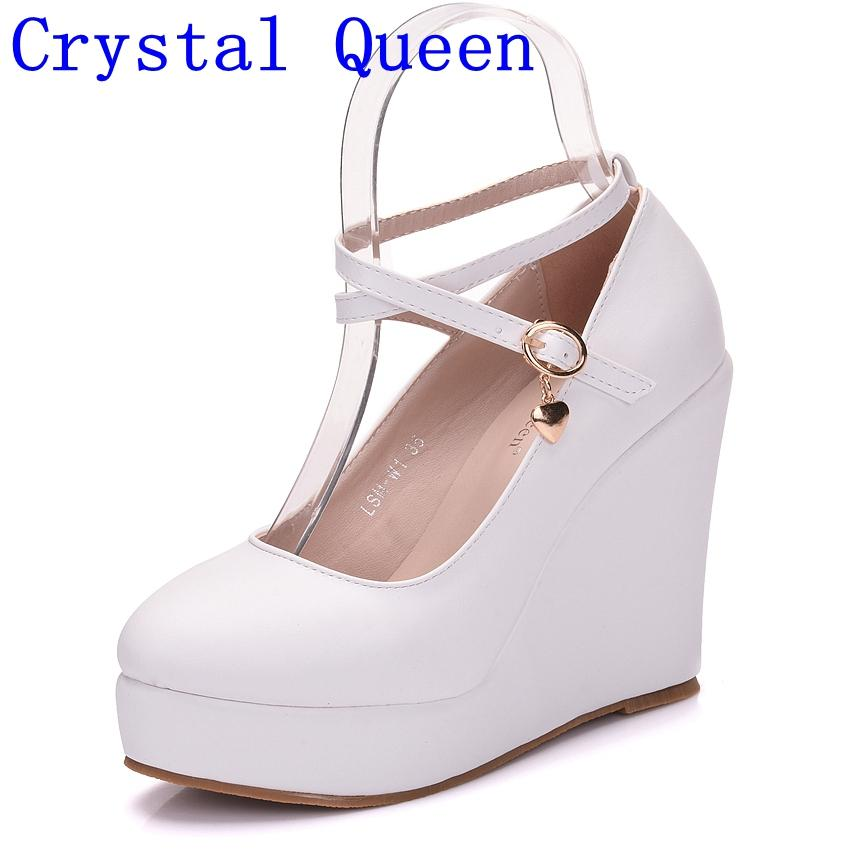 1e778c15 Compre Crystal Queen Plataformas Blancas Zapatos De Cuña Bombas Mujer  Tacones Altos Zapatos De Plataforma Punta Redonda Cuñas Bombas Corbata  Cruzada Tacones ...