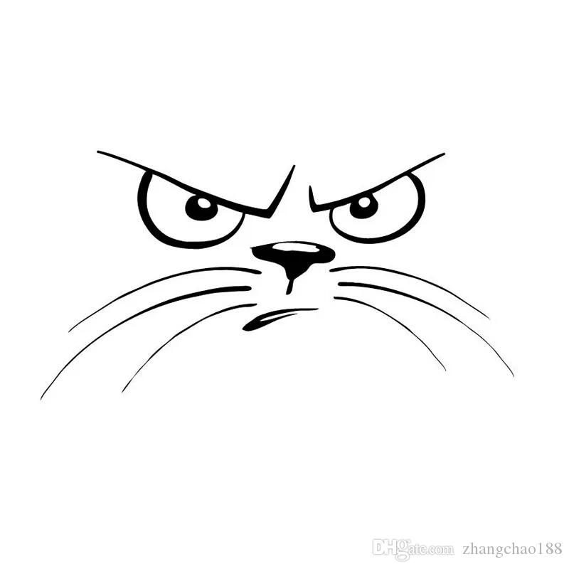 15.2*8CM Not Happy Cat Face Animal Decal Vinyl Car Sticker Black/Silver CA-1121