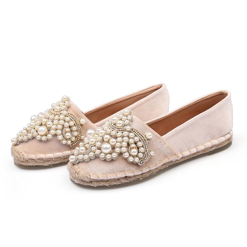 Crystal Design Woman Velvet Flat Shoes Rhinestone Pearl Ladies Luxury Brand  Espadrilles Loafers Spring Summer Fisherman Flats High Top Shoes Cheap Shoes  For ... 54a6020c9771