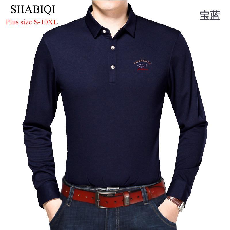 Shabiqi Casual Cotton Men Shirt Thicker Mens Long Sleeve Solid Polo Shirts Camisa Polos Tops Plus Size 6xl 7xl 8xl 9xl 10xl C19041501