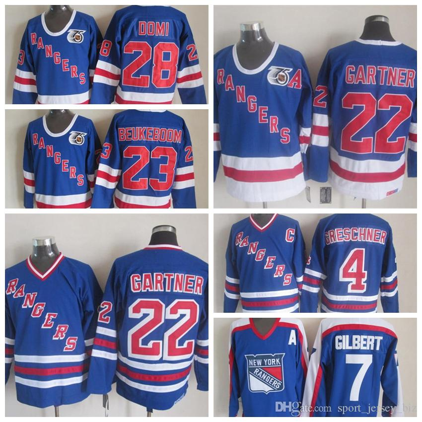 High Quality Vintage #22 Mike Gartner Jerseys New York Rangers Mike Gartner Hockey Jesrey 75th 1991-92 Cheap Stitched Men's Shirts