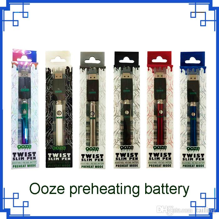 2019 Ooze Twist Pre-heat 350mah Battery Charger variable voltage Bud Touch  battery 510 thread Vape battery VS Law novo Vision Spinner