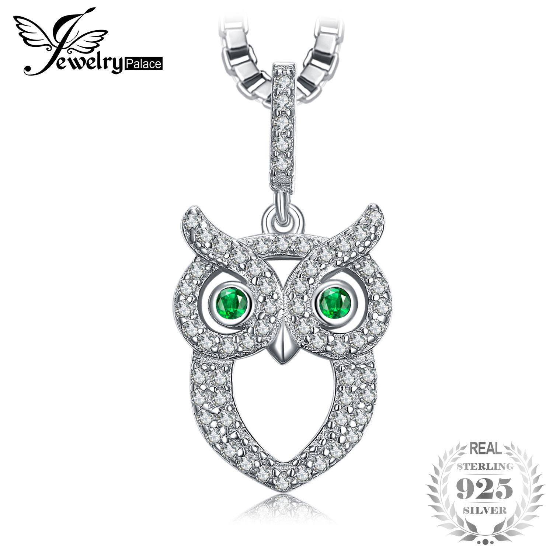 a21a58f9add6 Compre EwelryPalace Green Eyed Owl 0.2ct Nano Russian Emulated Emerald  Pendant 925 Joyas De Plata Esterlina Sin Una Cadena De JoyeríaPalace A   22.83 Del ...