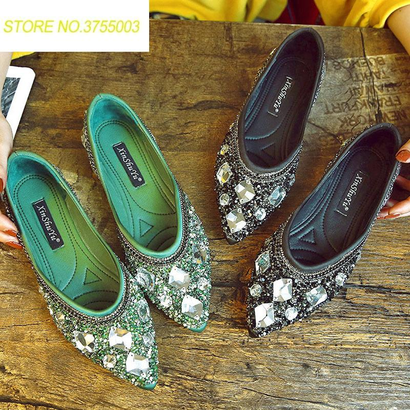 d7925842885c8d Luxury Rhinestone Ballet Flat Shoes Women Spring Autumn Butterfly Pointed  Toe Golden Shoes Loafers Size 40 Wedge Shoes Walking Shoes From ...