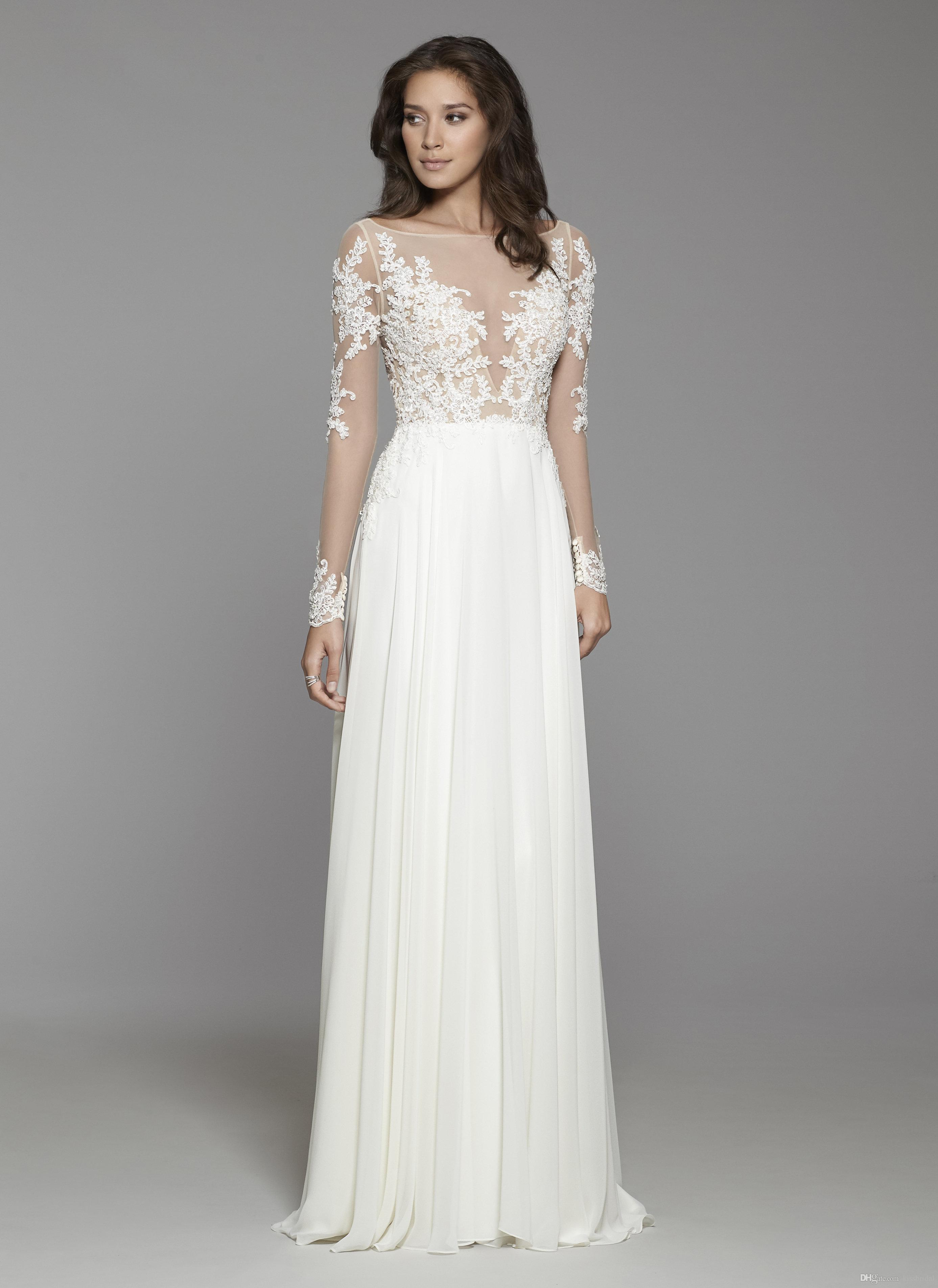 52c32559ef Discount Bohemian Wedding Dresses Long Sleeve 2019 Vestido De Novia Sheer  Illusion BateauNeckline Chiffon Lace Wedding Dress Bridal Gowns Beach Gown  Wedding ...