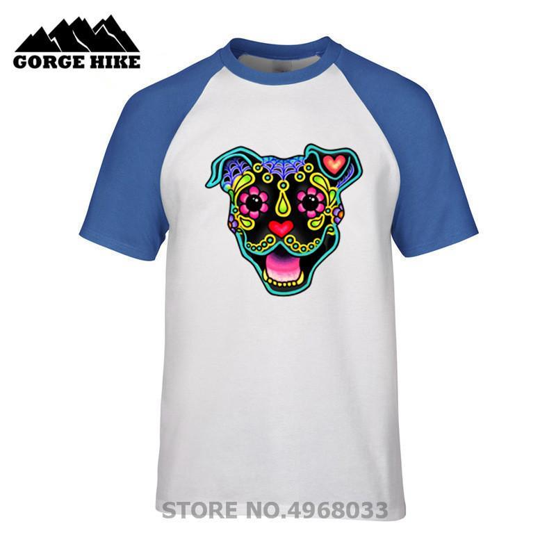 Cheap Summer Men T-shirt Smiling Pit Bull in Black - Day of the Dead  Pitbull Sugar Skull Dog Funny T shirt Male Short Sleeve Tee