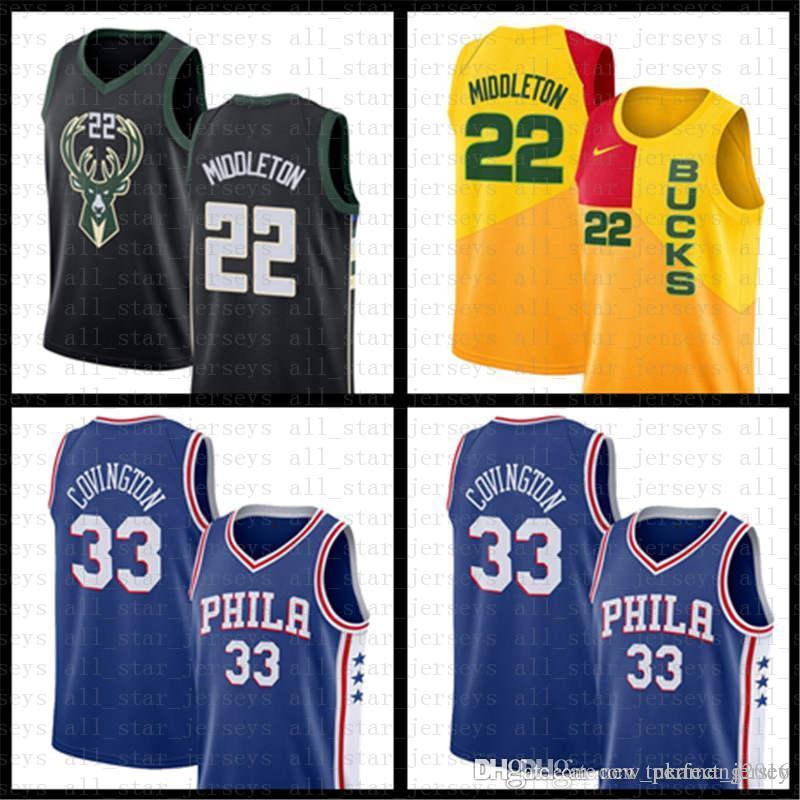 d11292f5 2019 Khris 22 Middleton Philadelphia Tobias 33 Harris 76ers Milwaukee  Giannis 34 Antetokounmpo Jersey Bucks Ray 34 Allen City Basketball Jerseys  From ...