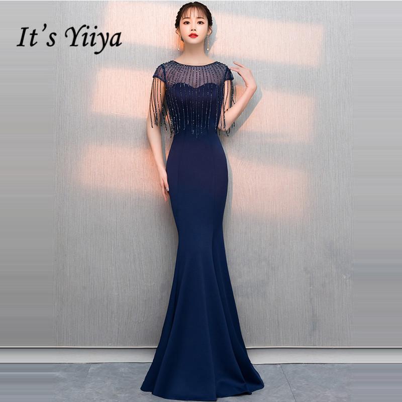 bf03df009b5f6 2019 It'S Yiiya Evening Dress 2019 Beading Tassel O Neck Navy Blue ...