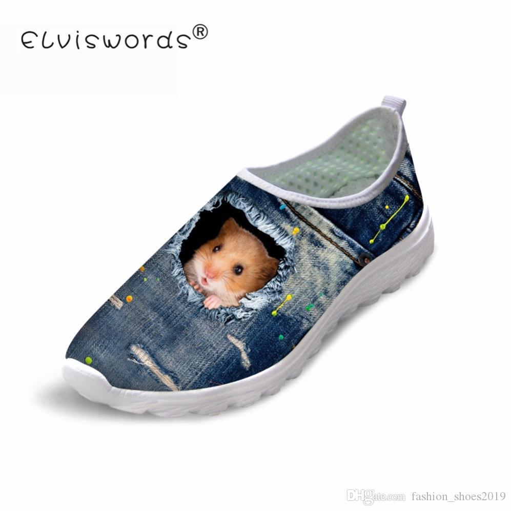 ELVISWORDS 3D Hamster Mesh Chaussures Printemps Été Denim Confortable Filles Chaussures Plates Impression Casual Plage Slip on Pour Homme # 268455