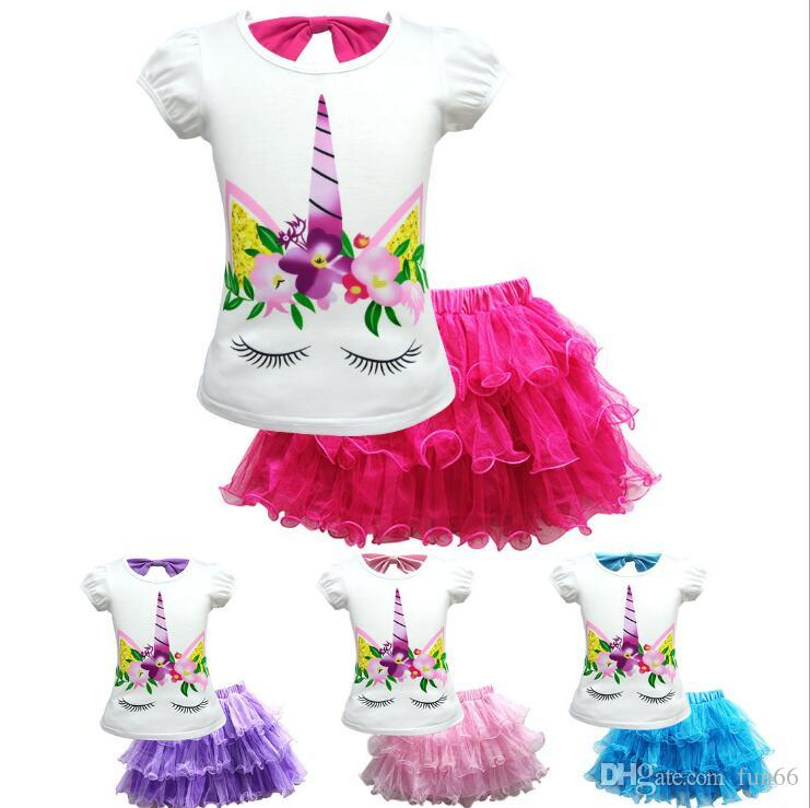 INS Lovely Unicorn Kids Outfits 2-12Y Unicorn Girls Skirt Tee Set Bowknot Tee+TUTU Skirt Baby Girls Suits INS Baby Summer Clothing Set 20lot