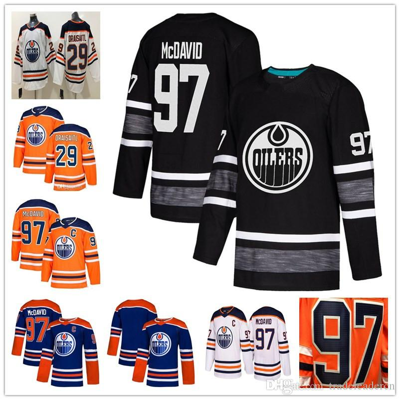 16e270427 2019 Youth Mens 2019 All Star 97 Connor Mcdavid 29 Leon Draisaitl White  Orange Blue Home Away Stitched Kids Edmonton Oilers Ice Hockey Jerseys From  ...