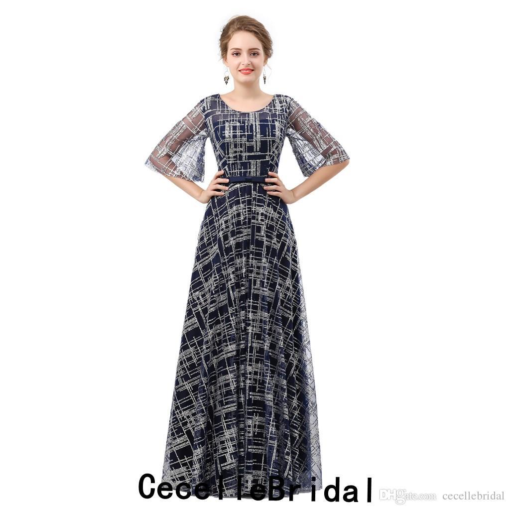 a6bf99108d A Line Navy Blue Lace Long Evening Dress 2019 New Jewel Short Sleeves  Corset Back Floor Length Women Elegant Evening Party Dress Evening Dress  Maternity ...