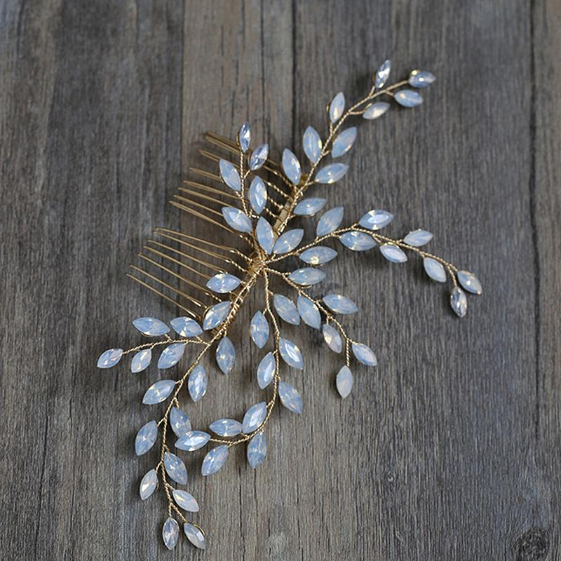 ashion Jewelry Jewelry Handmade Gold Floral Rhinestone Prom Wedding Hair Combs Fashion Crystal Hair Vine Bride Head Piece For Women Acce...