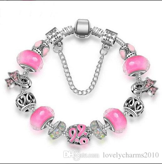 925 Sterling Silver Charm Bead Pink fit European Pandora Bracelets Breast Cancer Awareness BraceletCharm Beads Snake Chain Fashion Jewelry