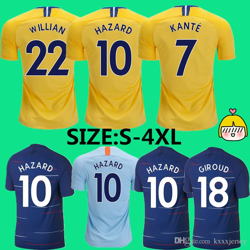 reputable site 2446d 9a0b0 3XL 4XL HAZARD JORGINHO PULISIC soccer jersey 2019 HIGUAIN GIROUD KANTE  Camiseta football kit shirt 18 19 WILLIAN maillot camisetas