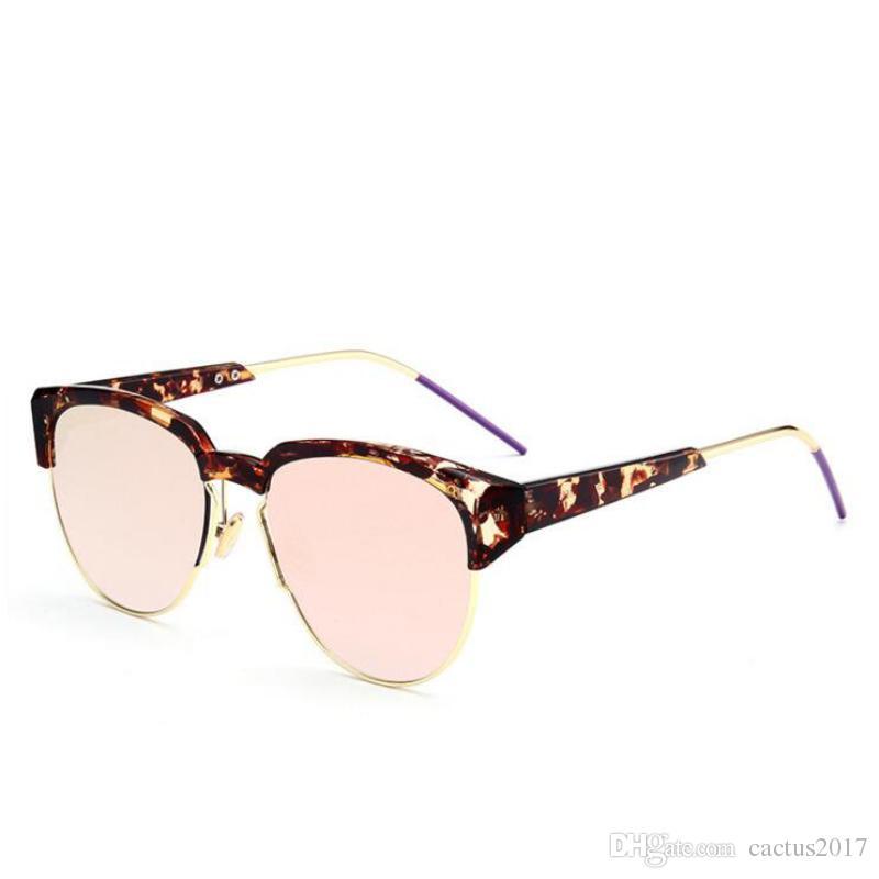 d19dd905dba0 Luxury Designer Cat Eye Sunglasses Half Frame Shades For Women Brand  Oversized Trendy Retro Metal Frame Eyewear Circle Sunglasses Glass Frames  From ...