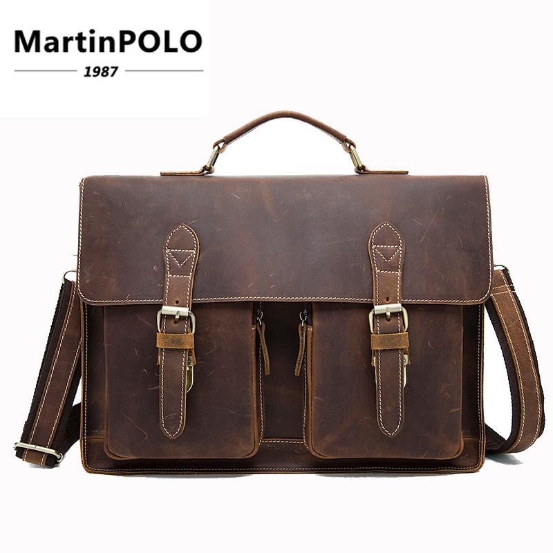 2019 Crazy Horse Leather Briefcases For Document Totes Messenger Bag Men  Shoulder Bags Business Men Briefcase Laptop Bag MLT9033 Best Leather  Briefcase Best ... 9a8fac9851