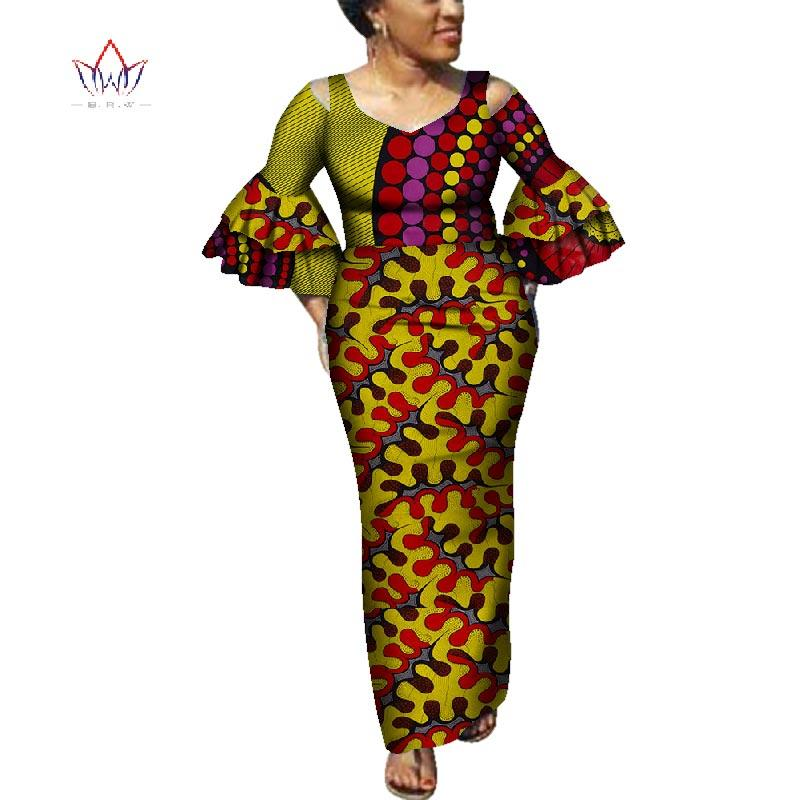 a34227f1545 Casual Manches Robes A Manches Bazin Riche Robes Africaines ...