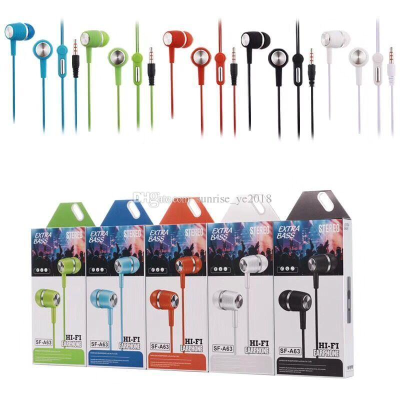 SF-A63 SF-A64 Earphone Hands Free Universal 3.5MM 6u loudspeakers in-ear Earphone Earbuds Headphones stereo headset with mic with box