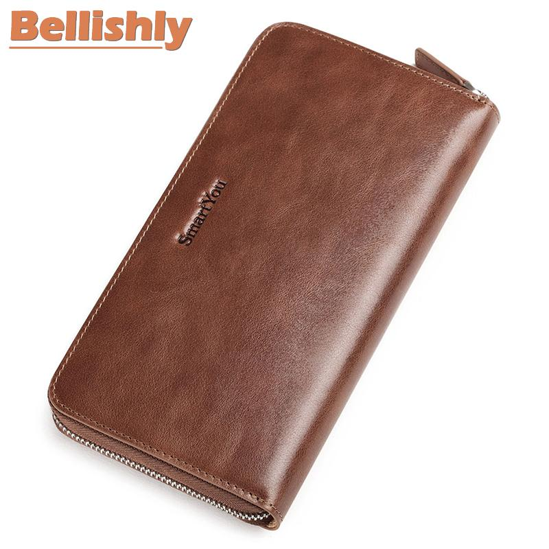 Portemonnee Billfold.Bellishly Genuine Leather Men Long Cell Phone Pocket Bill Money Clip