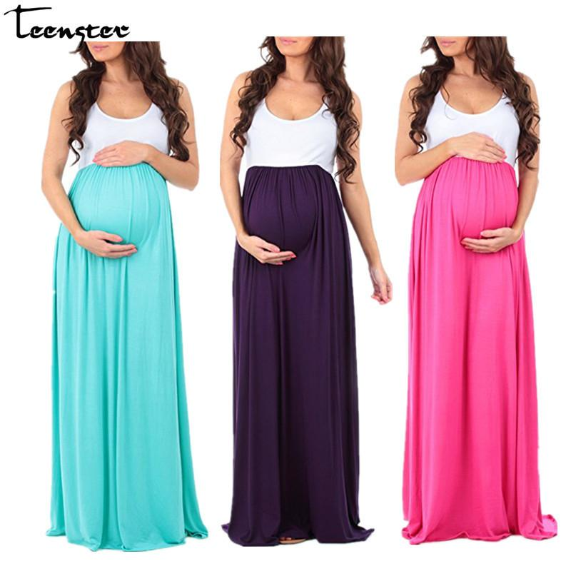 Teenster Maternity Clothing Maternity Dresses Sleeveless Pregnancy Dress Vestido Patchwork Large Pendulum Gravida Clothes Y190522