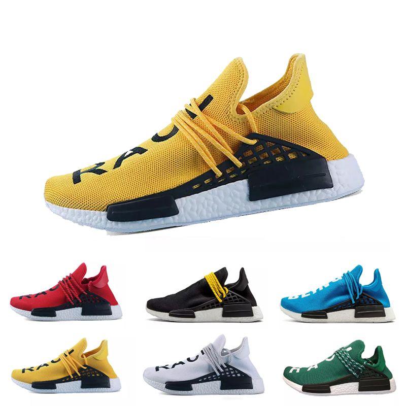 brand new 4961c 5e5ec Human Race HU Trail Running Shoes Mens Women Pharrell Williams Runner HAPPY  Nerd Equality Cream Yellow Core Black Red Sports Sneakers 36-45