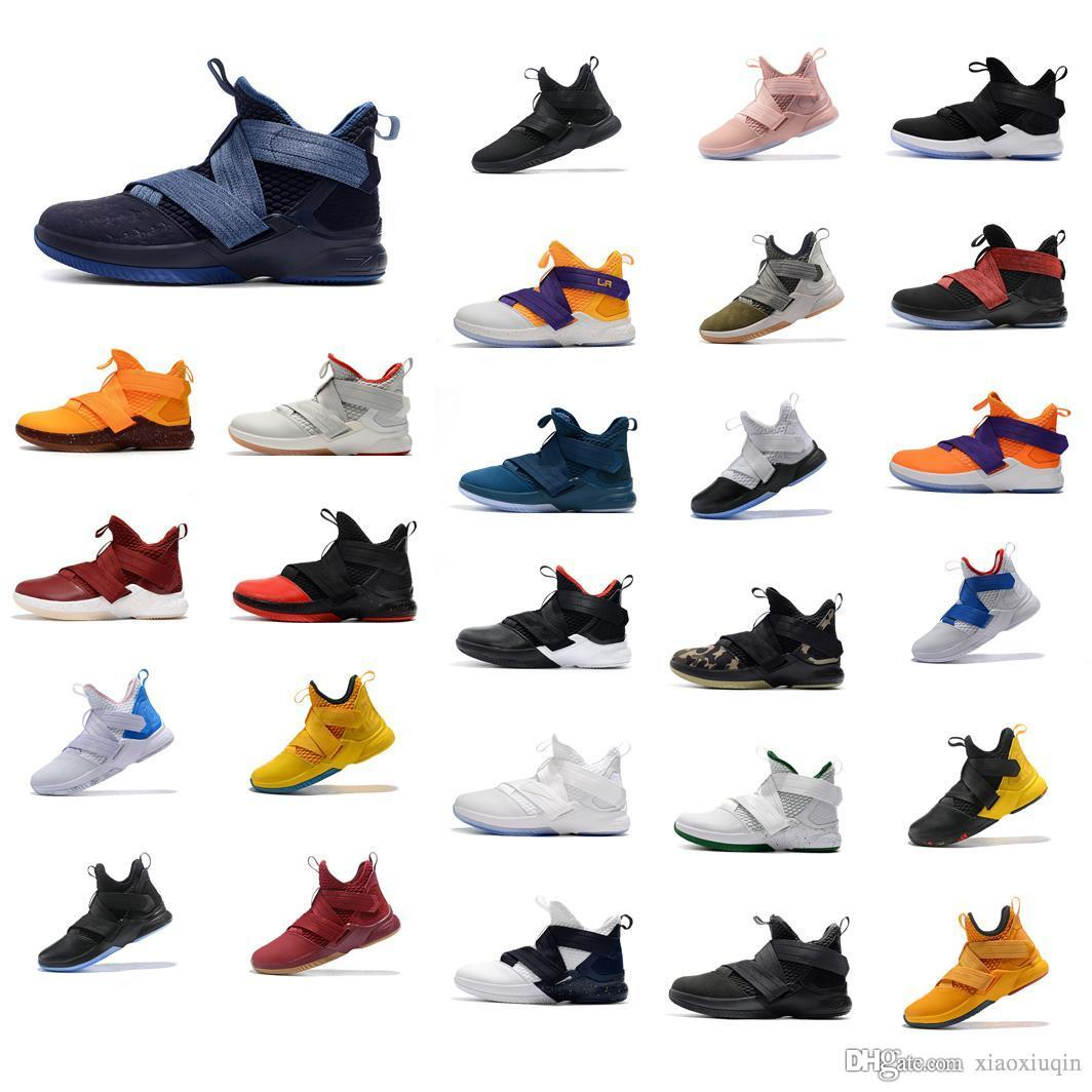 on sale 82b80 edae6 2019 Cheap New Lebron Soldier 12 Mens Basketball Shoes Purple Blue Olive  Green Lakers Black Bred Snakeskin Youth Kids XII Sneakers Boots With Box  From ...