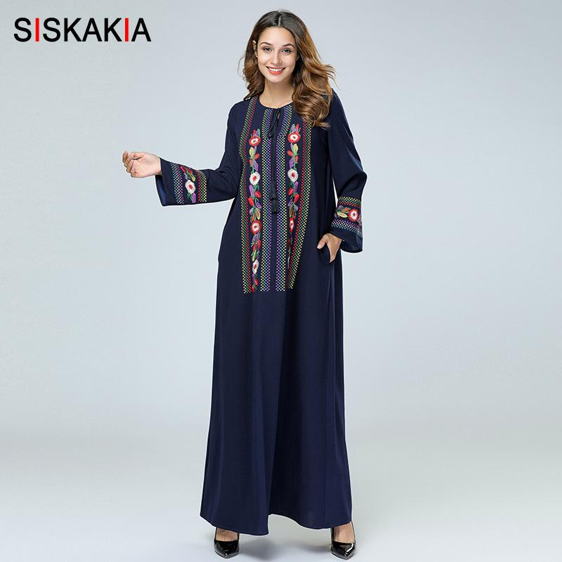 5294d12d7f54c wholesale Vintage Ethnic Geometric Floral Embroidery Women Long Dress  Elegant Muslim Dubai Arab Clothes Female Autumn Fall
