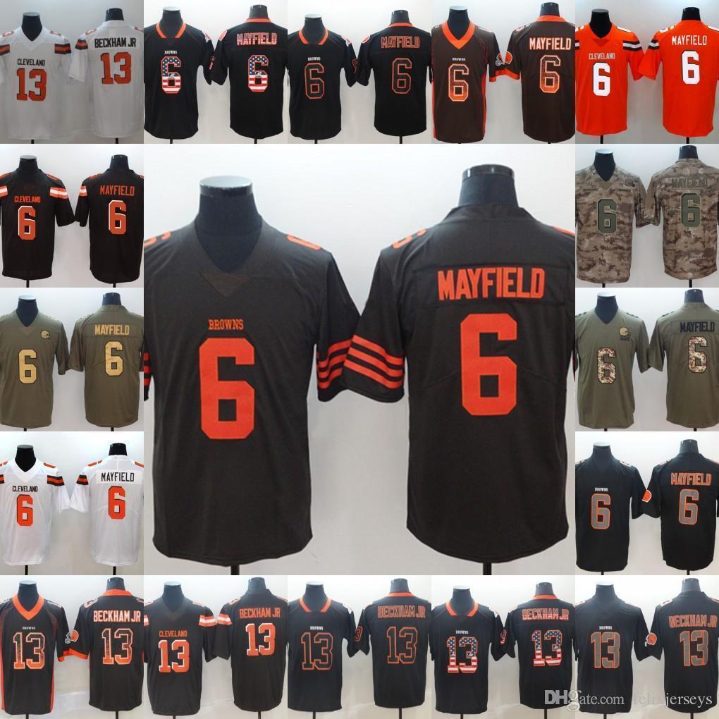 new product 35e0a 62093 Men 6 Baker Mayfield Black White jerseys 13 Odell Beck Jacksonville Jaguar  Jersey 2019 new Browns White Football Jerseys Free Shipping