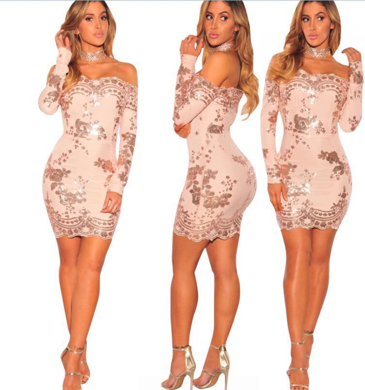 b64ad6249e85e 2019 New European and American Women's Sequin Wrapped Long Sleeve Dress  European and American Evening Dress Women