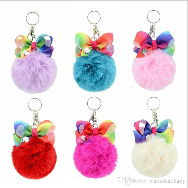 Colorfull Pompom Keychain Bow Pendant Charm Jewelry Kids Children Backpack Pendant Keyrings Key Chain Girls Car Bag Decor key holderE1531