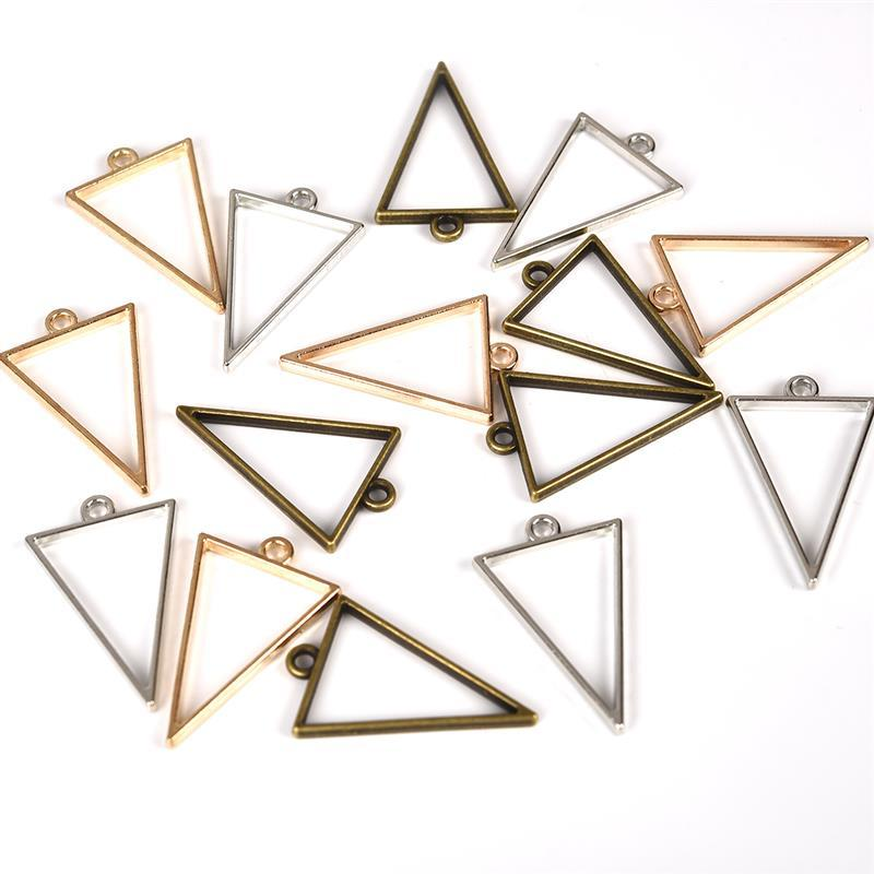 10pcs 25x39mm Triangle Open Back Bezel Hollow Blank Pendant Charm Pressed Flower Resin Blank Frames Pendants Jewelry Making DIY