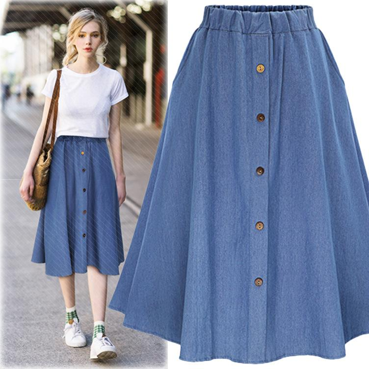 d7a52292eb 2019 Women Denim Long Skirt European Korean Style A Line Female Big Hem  Casual Button Loose Jeans Skirt Elastic Waist Plus Size From Cutee, $21.69  | DHgate.