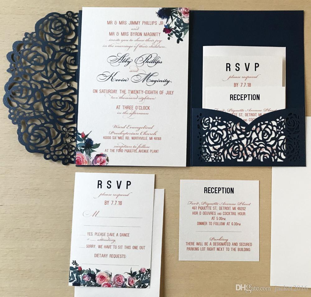 Navy Blue Laser Cut Pocket Invites For Wedding 2019 Elegant Vintage Flower Trifold Engagement Bridal Shower Wedding Invitations Rsvp Card