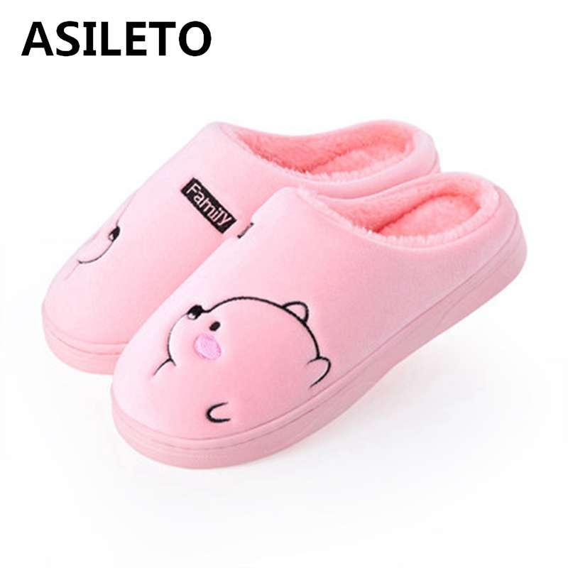 ASILETO cute women slippers indoor slip on warm soft plush cartoon bear home floor shoes house flat slippers sapatos chaussures
