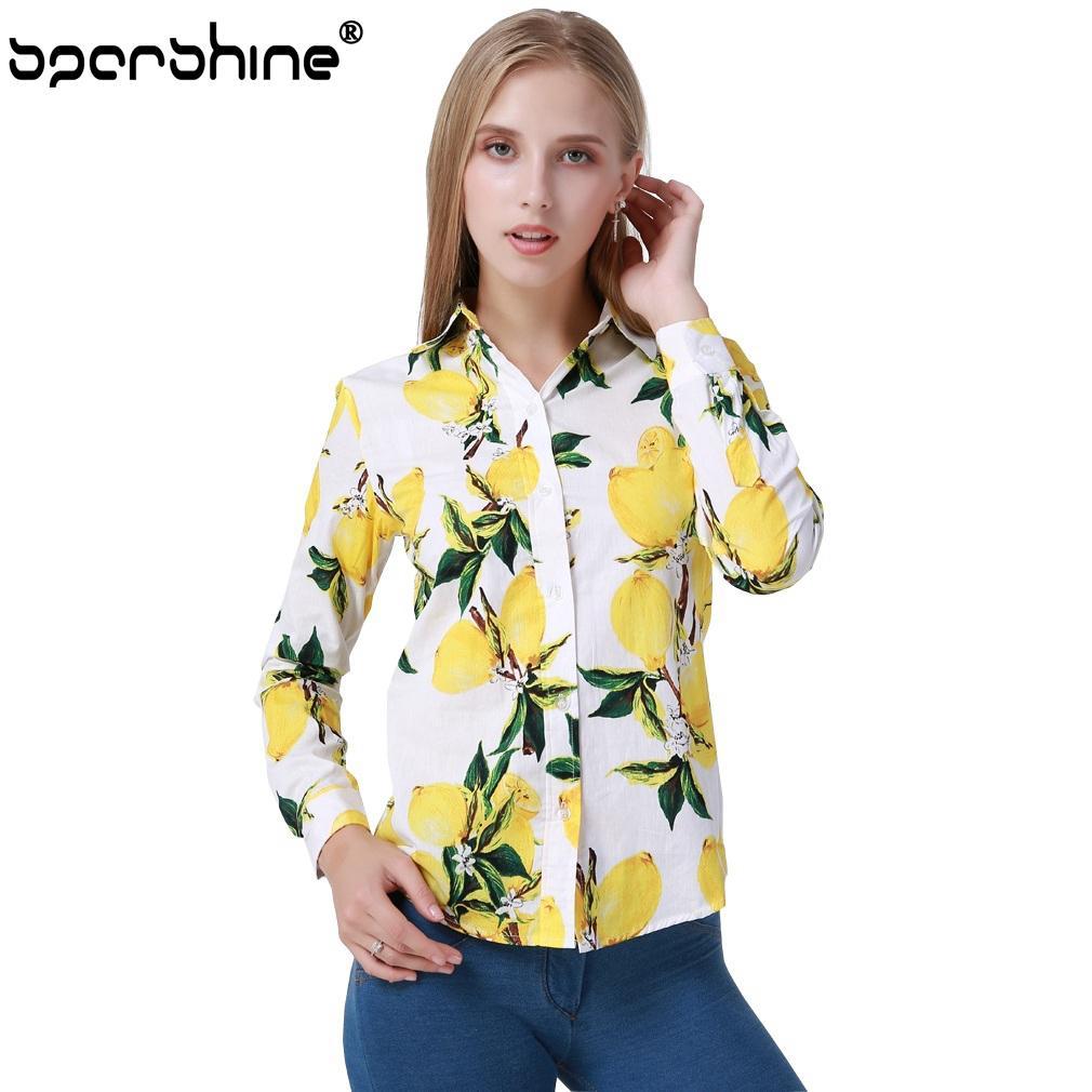 fa249eb5d907 SPARSHINE Blusas Mujer De Moda 2017 Amarillo Limón de Impresión de Manga  Larga Blusa Casual Señoras Camisa de Oficina de Las Mujeres Tops Más ...