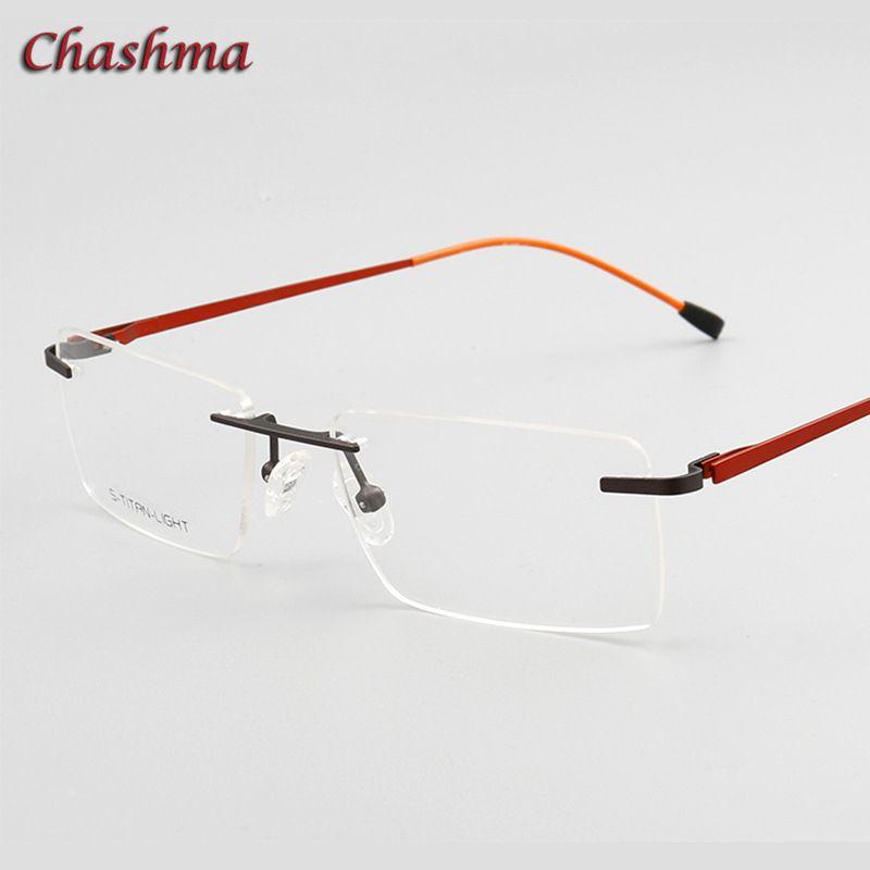 9806eba5f7 Compre Chashma Designer Eyewear Óptica Prescripción Marco De Titanio Para  Los Hombres Sin Montura De La Luz De La Lente De La Bisagra Marco De Los  Vidrios ...