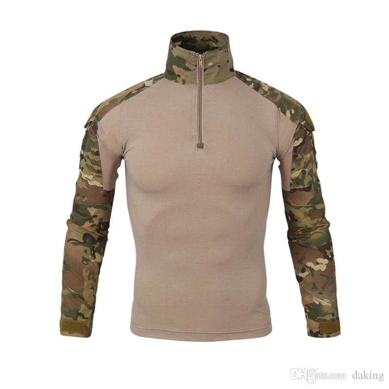 Men Military Camo T-Shirts Spring Autumn Europe US China Style Army Camouflage Combat Multicam Uniform Quick Dry Hunting lapel Tactical Tees