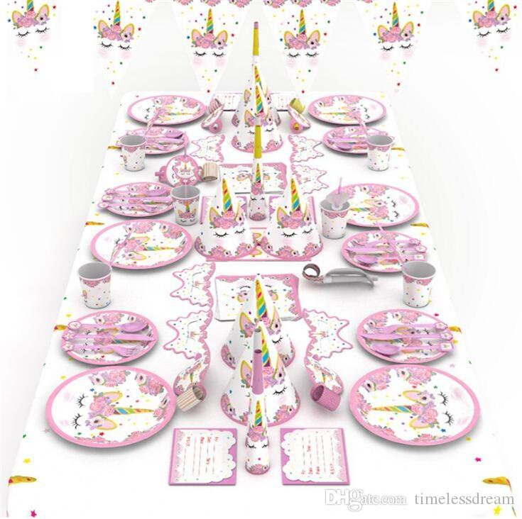 Kids Birthday Party Decoration Supplies 90pcs Colorful Tema Unicorno Stoviglie Set da tavola Tovagliolo Tazza Tovaglia Bandiera Party Set regalo Pack