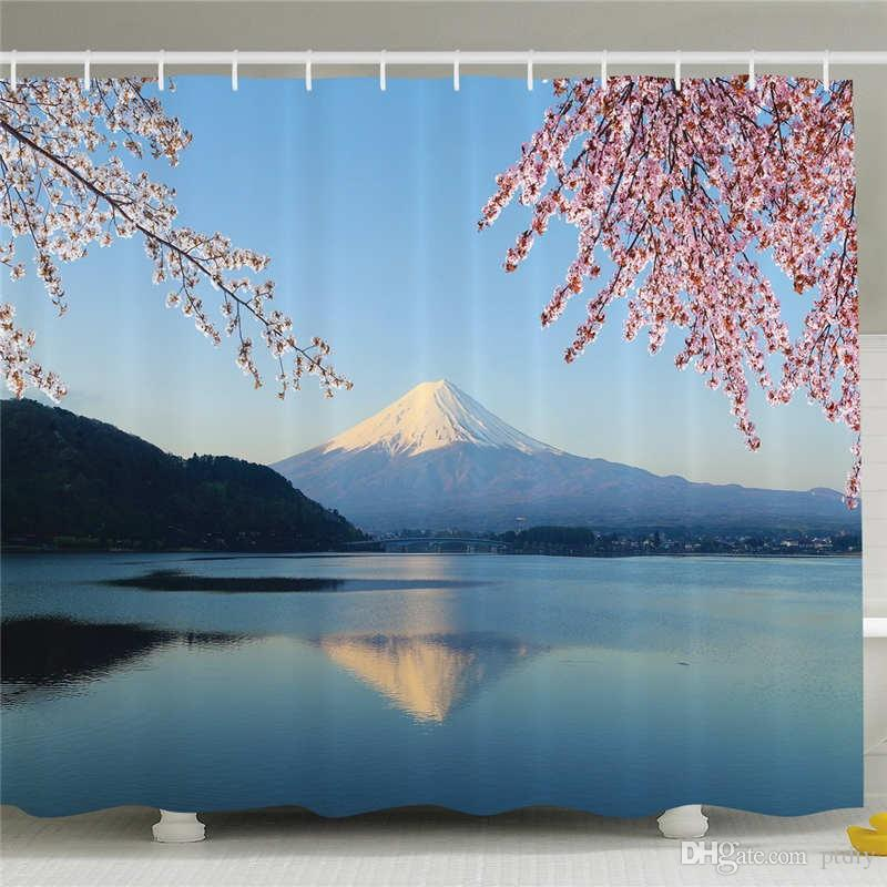 Spring Decor Shower Curtain, Cherry Blossoms Sakura Snowy Mountain Fuji Lake View Picture Print, Polyester Fabric Bathroom Set with Hooks