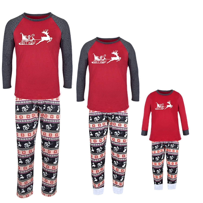 9b264e1fe3363 Acheter Pyjamas De Noël Pour La Famille Assortie Ensemble De Cerfs À  Carreaux Sur La Conception De Plateau Pour La Famille Pajamas De Noël De   8.66 Du ...