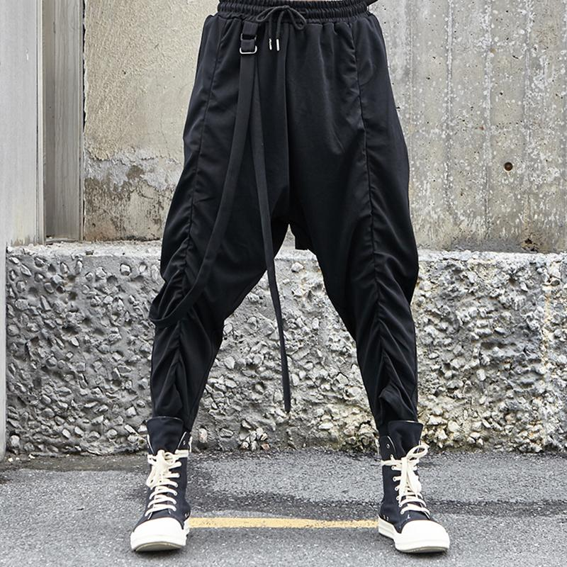 ad90132e25298 27-46 2019 NEW men's clothing Fashion personality crease Yamamoto Loose  Hip-hop Broad-legged Pants plus size singer costumes