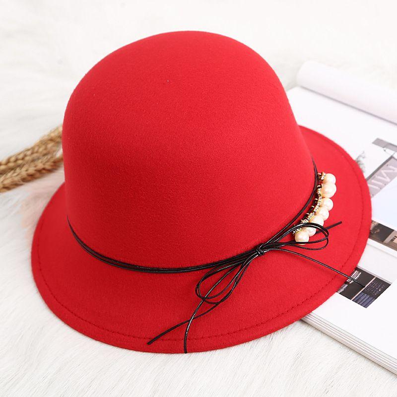 78493baa9306c Spring Fashion Vintage Women Ladies Wool Fedora Hat Bucket Dome Bell ...